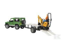 4x4 Land Rover Defender avec remorque et mini-pelleteuse JCB 02593 Bruder