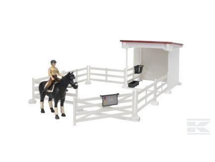 Kit clôture et abri blanc avec cheval et cavalier Bruder 62521