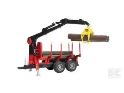 Remorque à bois avec pince de chargement et 4 troncs Bruder 02252