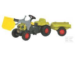 Tracteur à pédales RollyKid Claas avec chargeur et remorque Rolly Toys R02390