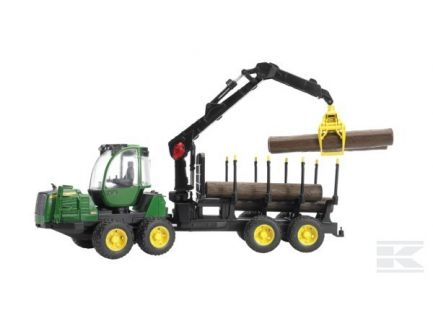 Tracteur forestier John Deere 1210E avec remorque et pince de chargement Bruder 02133