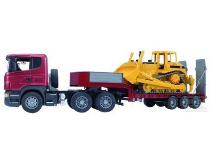 Camion Scania avec remorque surbaissée et bulldozer Bruder 03555