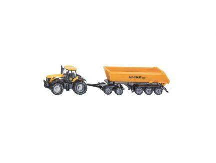 Tracteur JCB avec attelage dolly et benne basculante 3 essieux Siku 1858 échelle 1/87