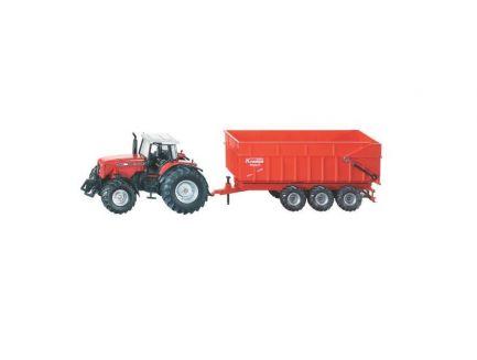 Tracteur Massey Ferguson avec benne Krampe 3 essieux échelle 1/87 Siku 1844