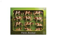 Lot de 12 vaches rousses et blanches échelle 1/32 Kids Globe 571968