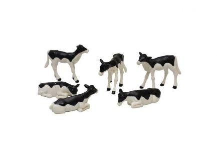 Lot de 6 veaux noirs et blancs échelle 1/32 KIds Globe 571974