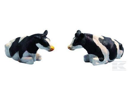 Lot de 2 vaches noires couchées