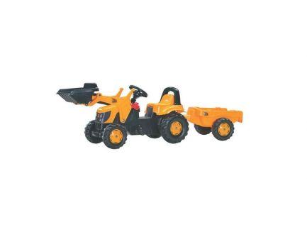 Tracteur à pédales JCB avec chargeur et remorque Rolly Kid R02383