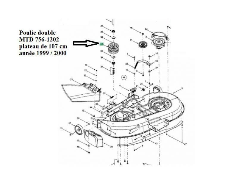 poulie double pour plateau de coupe 96 et 107 cm mtd 756. Black Bedroom Furniture Sets. Home Design Ideas