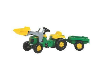 Tracteur à pédales John Deere avec chargeur et remorque RollyKide
