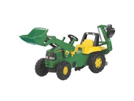 Tracteur à pédales JD avec chargeur et pelle rétro Rolly Toys R81107
