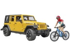 Jeep Wrangler Rubicon Unlimited avec Vélo et Cycliste