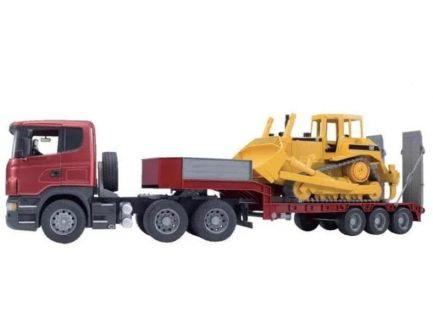 Camion Scania avec remorque surbaissé et bulldozer U03555